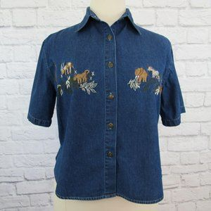 M.P.H. Blues Denim Button Front Shirt Embroidered